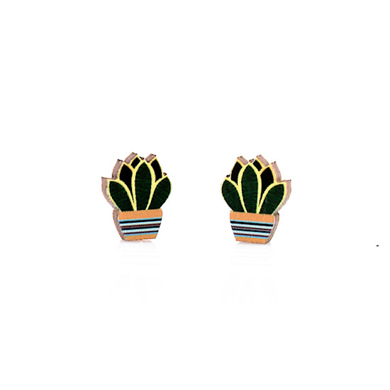 Succulent Stud Wooden Earrings