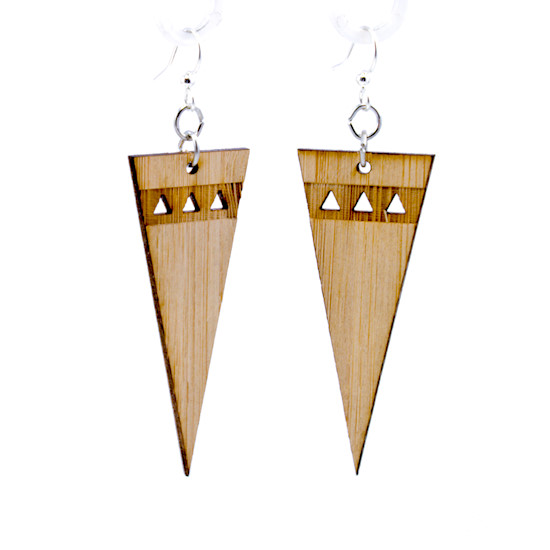 Pointed Edge Bamboo Earrings