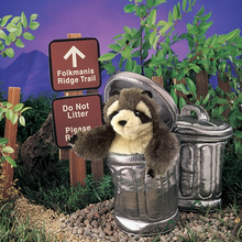 Load image into Gallery viewer, Raccoon in a Garbage Can Hand Puppet