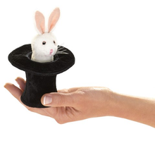 Load image into Gallery viewer, Mini Rabbit in a Hat Finger Puppet