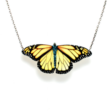 Load image into Gallery viewer, Monarch Butterfly Wooden Necklace