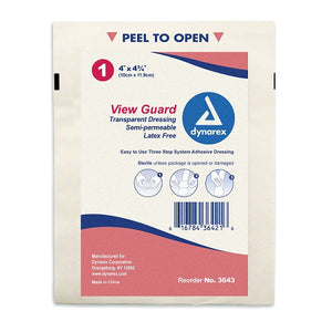 "Transparent Dressing 4"" x 4 3/4"" Sterile"