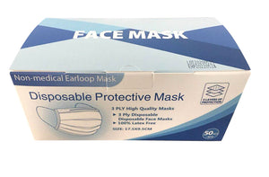 Blue 3ply Face Masks with Ear Loops - 50/box