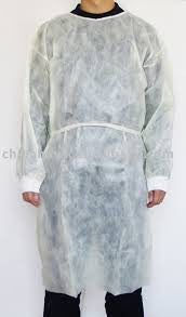 Isolation Gown, White, Poly coated barrier