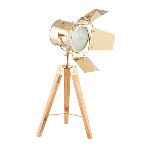 Gold & Natural Wood Tripod Table Lamp