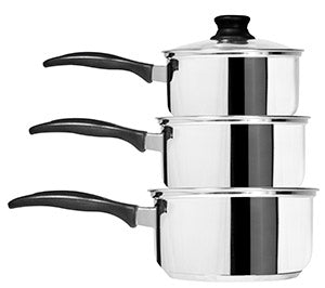 Cook & Eat 3 Piece Stainless Steel Saucepan Set | 3BH