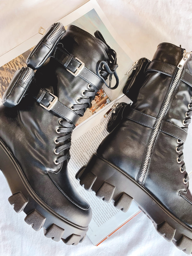Girl Issues Black Combat Boot