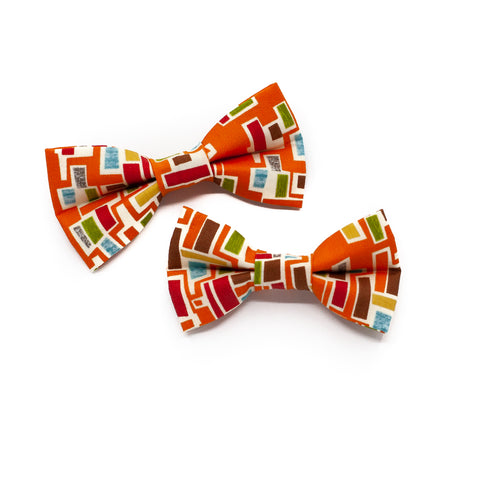 Mod Orange Bowtie for Puppy Dogs and Kitty Cats