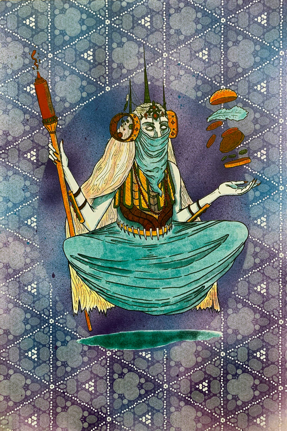 Burger Witch Design by Griffin Cook purple blue