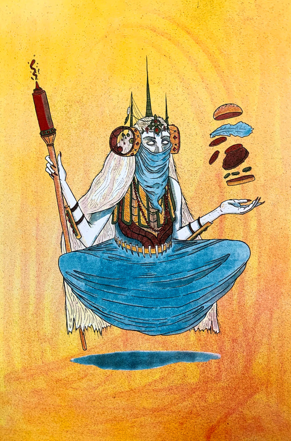 Burger Witch Design by Griffin Cook yellow red