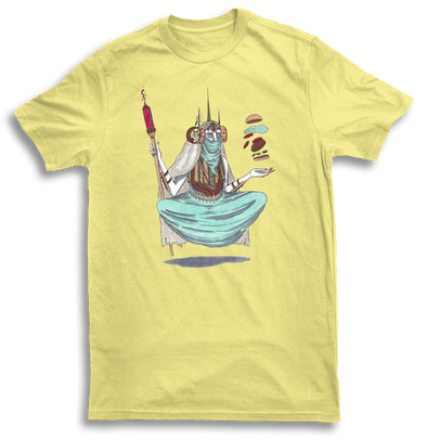 Mens Burger Witch Yellow Tshirt by Griffin Cook