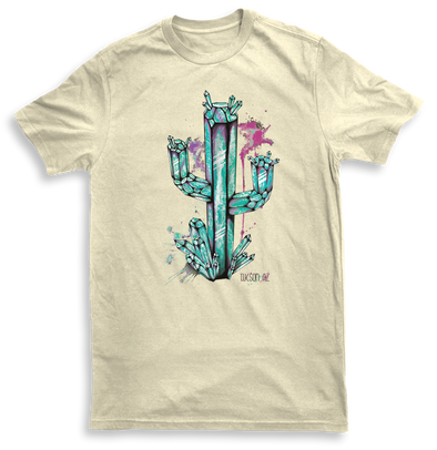 Mens Crystal Cactus Natural Tshirt Aquamarine Design by Yeah Right