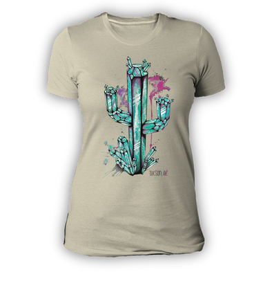 Ladies Crystal Cactus Natural Tshirt Aquamarine Design by Yeah Right