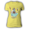 Ladies Burger Witch Yellow Tshirt by Griffin Cook