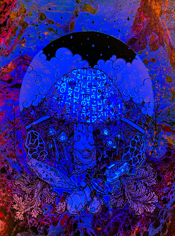 Mushroom Poster print Harmonious Sludge black light