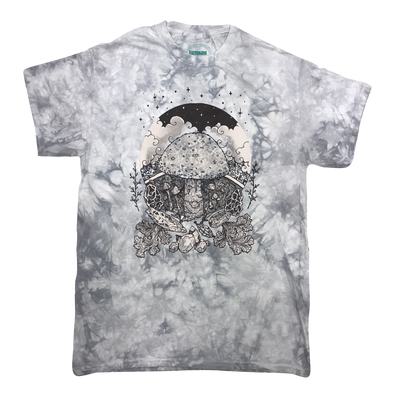 Black and white Mushroom with starry sky and other various fungus and natural elements on a silver crystal wash T-shirt