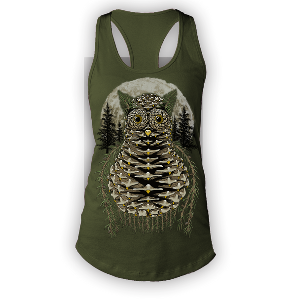 Pinecone Ladies Green Tanktop by Yeah Right