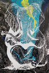 Zen Elephant poster Design by Yeah Right white blue black yellow