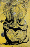 Zen Elephant poster Design by Yeah Right black yellow