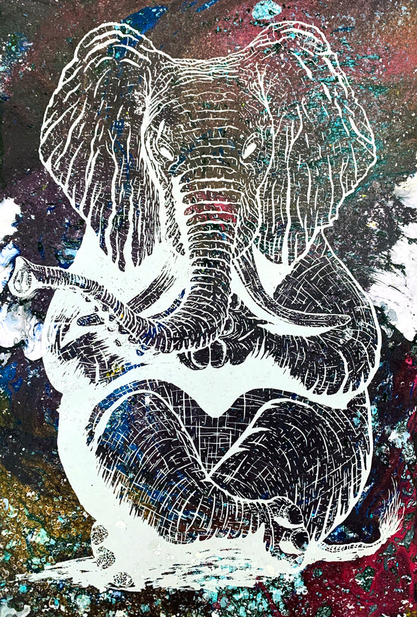 Zen Elephant poster Design by Yeah Right white