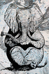 Zen Elephant poster Design by Yeah Right black white grey