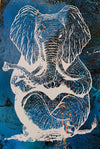 Zen Elephant poster Design by Yeah Right white blue black