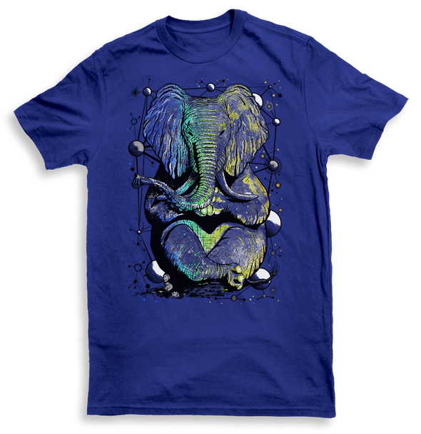 Zen Elephant Mens Blue Tshirt by Yeah Right