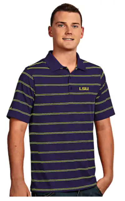 Antigua LSU Tigers Deluxe Striped Desert Dry Xtra-Lite Performance Polo