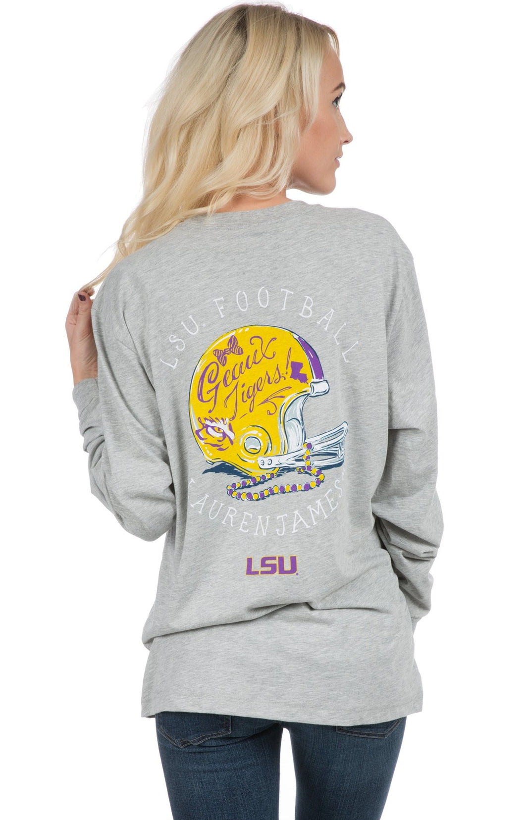 Lauren James LSU Helmet Tee Heather Grey