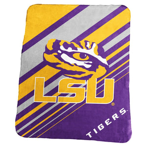 LSU Diagonal Stripped Fleece Blanket