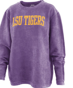 Comfy Cord LSU Sweatshirt-Purple (Block Letters)