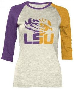 LSU Two Toned 3/4 Sleeve Top