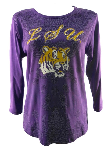 LSU P Michaels Purple Paisley 3/4 Sleeve Shirt