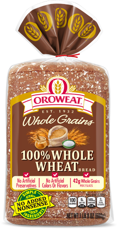 Bread, Oroweat 100% Whole Wheat Sliced Loaf