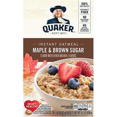 Oatmeal, Quaker Maple & Brown Sugar 10/1.5 Oz.