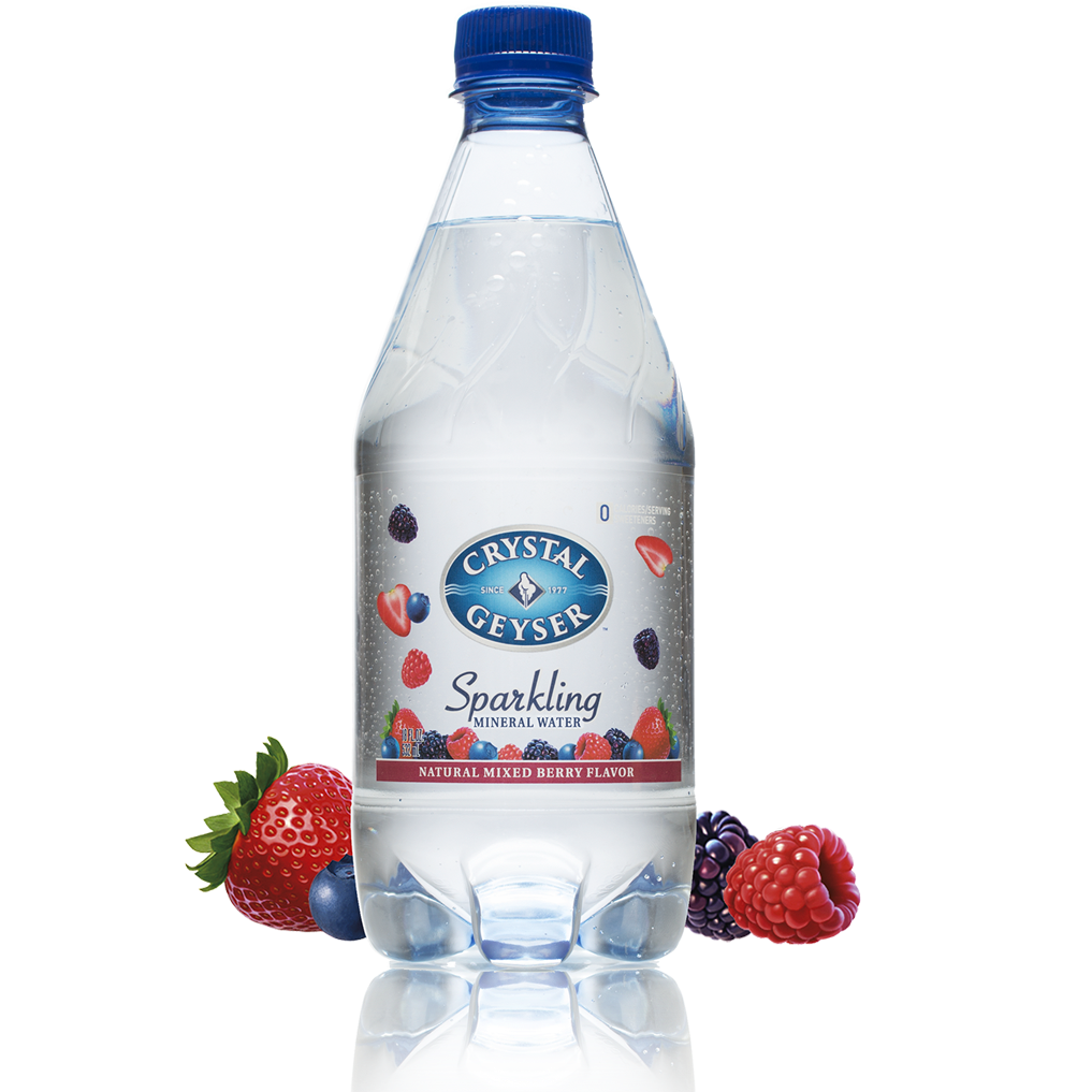 Water, Crystal Geyser Sparkling Mineral Very Berry 4/18 Oz.