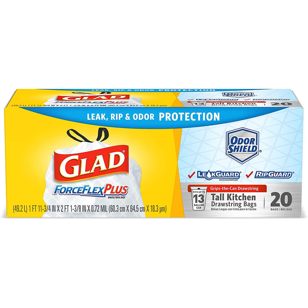 Trash Bags,  Glad Force Flex Plus 13 Gal. 20 Ct.
