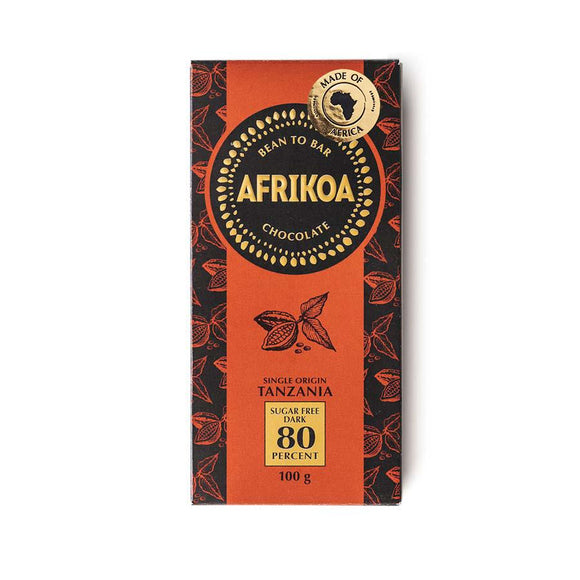 Afrikoa 80% Sugar-Free Dark Chocolate 100g food Afrikoa