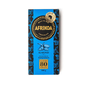 Afrikoa 80% Sugar-Free Dark Chocolate with Almonds 100g food Afrikoa