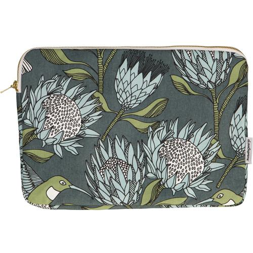 "aLoveSupreme Laptop Sleeves with Proteas stationery aLoveSupreme 13"" blue protea on gunmetal"