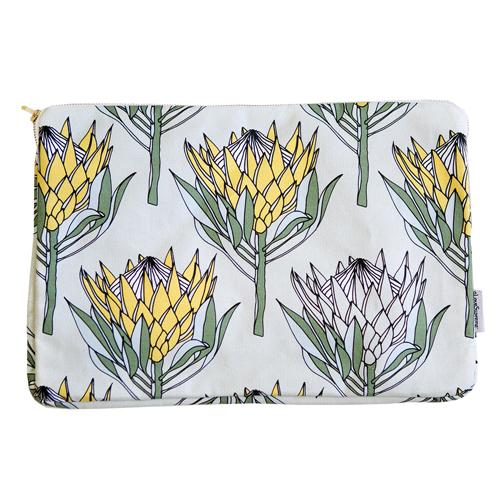 "aLoveSupreme Laptop Sleeves with Proteas stationery aLoveSupreme 13"" yellow king protea on mint"