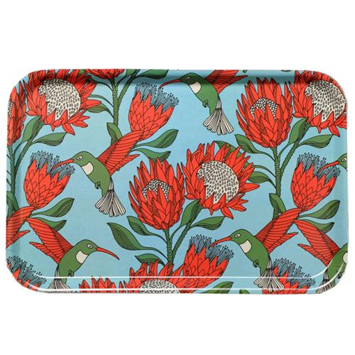 aLoveSupreme Melamine Dinner Trays with Proteas home & decor aLoveSupreme blue