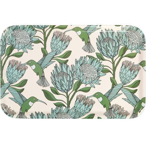 aLoveSupreme Melamine Dinner Trays with Proteas home & decor aLoveSupreme blue on white