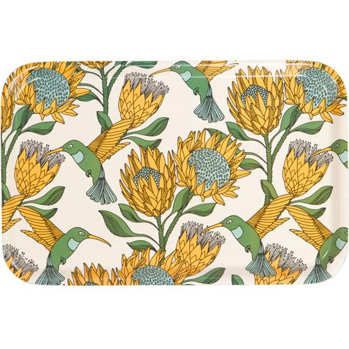 aLoveSupreme Melamine Dinner Trays with Proteas home & decor aLoveSupreme yellow on white