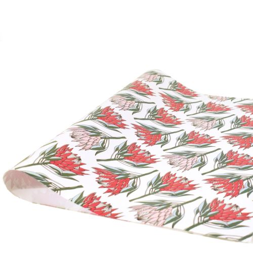aLoveSupreme Wrapping Paper with Proteas stationery aLoveSupreme pink king protea on white