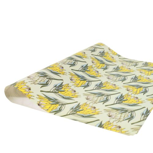 aLoveSupreme Wrapping Paper with Proteas stationery aLoveSupreme yellow king protea on mint