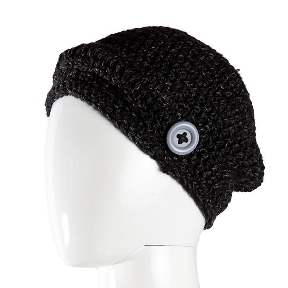 Black Velvet Fashions Accents Black Presley Button Beanie clothing & accessories Black Velvet Fashions