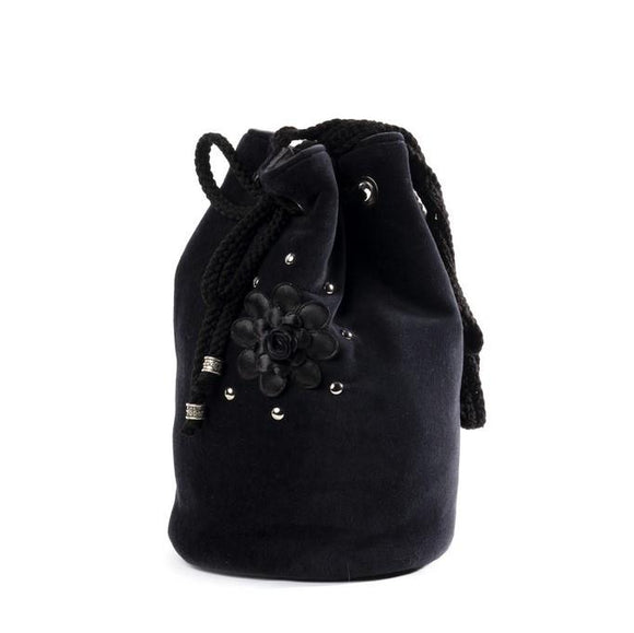 Black Velvet Fashions Black Ella Rose Drawstring Handbag clothing & accessories Black Velvet Fashions