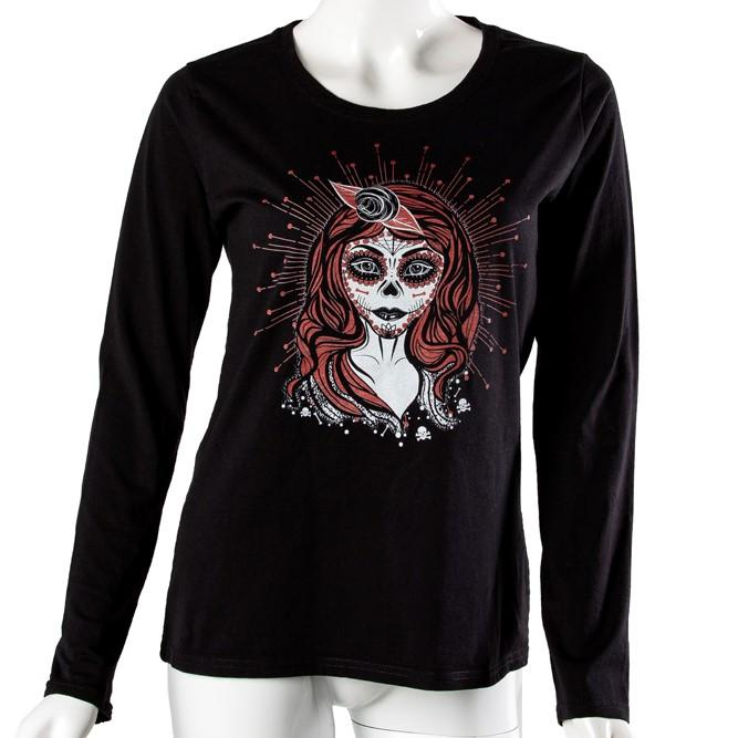 Black Velvet Fashions Gothic Black Faustine Long Sleeve Printed T-shirt clothing & accessories Black Velvet Fashions