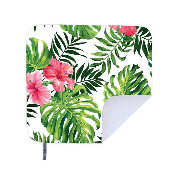 Bobums Botanical Microfibre Beach Blankets clothing & accessories Bobums pink hibiscus leaves 160cm x 160cm